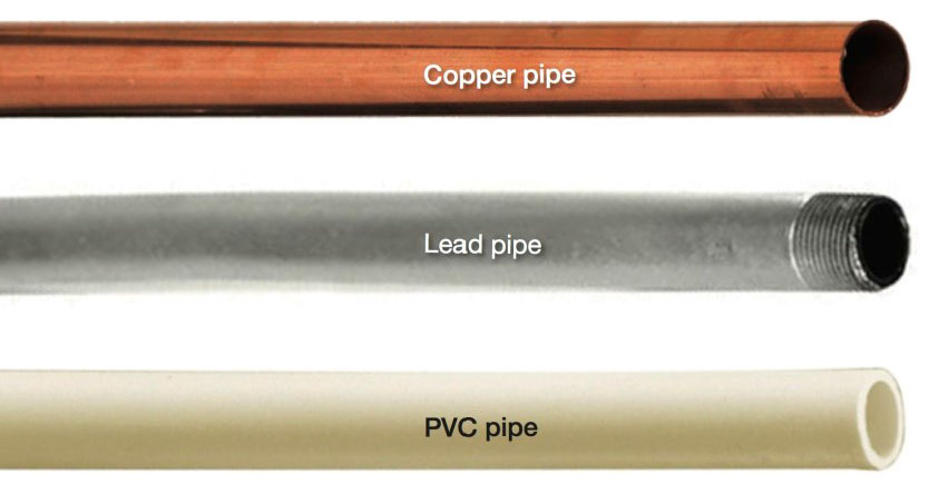 copper pipe lead pipe and PVC pipe